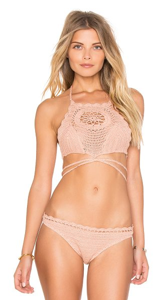 Somedays Lovin Daphne Bikini Top in peach - Cotton blend. Hand wash cold. Crochet knit fabric. Back...