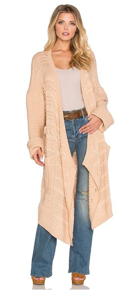 Somedays Lovin High hopes knit cardigan in neutral - 100% acrylic. Open front. Side slit pockets. Fringe...