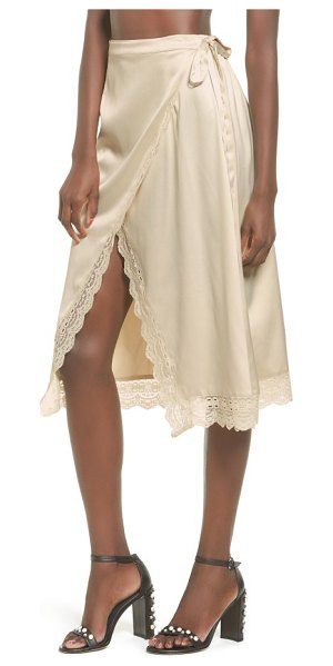 Somedays Lovin know the night satin wrap skirt in cream - Scalloped lace trims the edges of this decidedly...