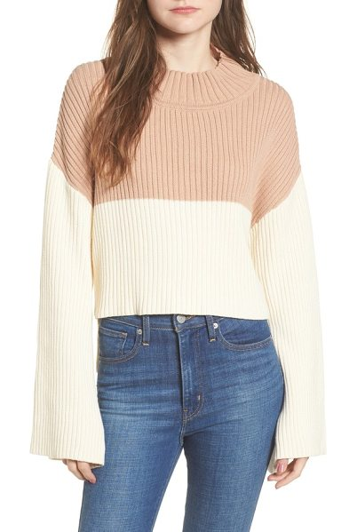 Somedays Lovin like a melody colorblock crop sweater in cream/ dusty pink - Cropped at the front and styled with swingy bell...