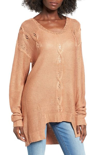 Somedays Lovin 'patti' textured knit tunic in blush - Slouchy, drop-shoulder sleeves frame a relaxed-fit...