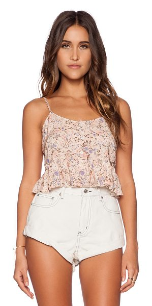Somedays Lovin Secrets floral crop top in peach - Rayon blend. Hand wash cold. Adjustable shoulder straps....