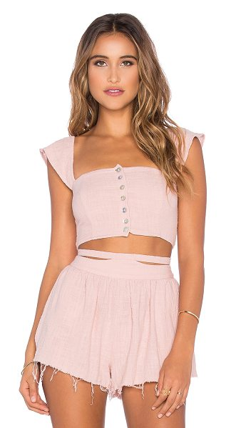 Somedays Lovin Sun and sand woven crop top in pink - Linen blend. Hand wash cold. Button front closure....