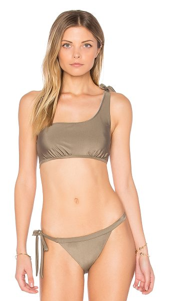 Somedays Lovin Sunspell One Shoulder Bikini Top in taupe