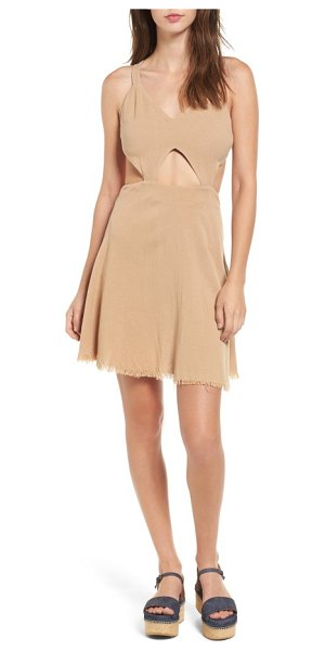 Somedays Lovin take me here cutout cotton & linen dress in sandstone - Styled to show off plenty of skin around the midriff,...