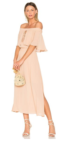 "Somedays Lovin Touch the Sun Midi Dress in tan - ""100% poly. Fully lined. Smocked elastic neckline...."