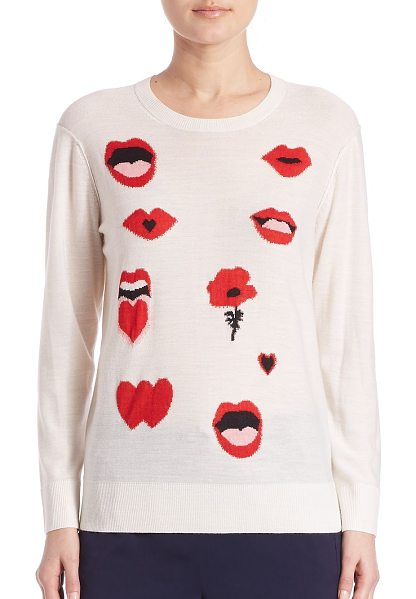 Sonia By Sonia Rykiel ribbed jacquard sweater in ecru-scarlett - Classic ribbed sweater with lips and love prints....