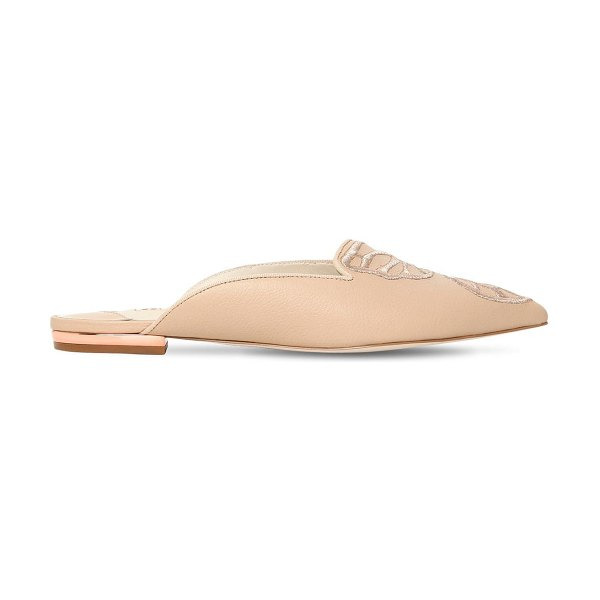 Sophia Webster 10mm bibi butterfly leather mules in nude