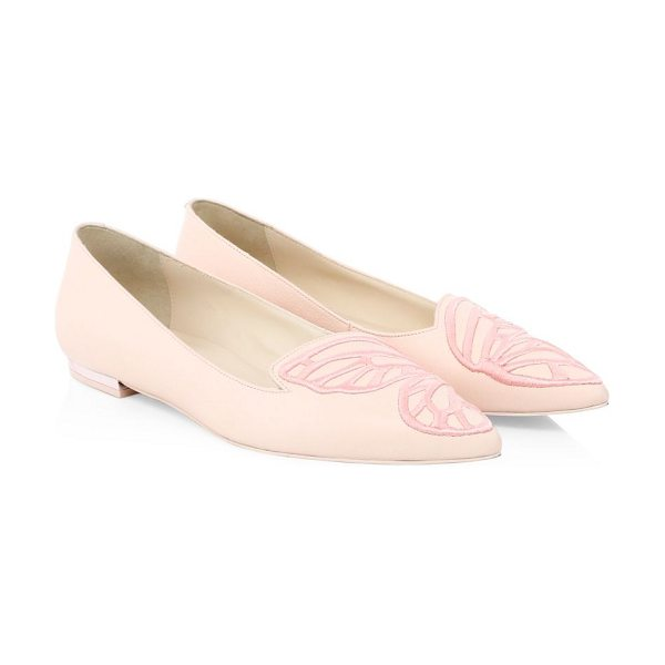 SOPHIA WEBSTER bibi butterfly leather ballet flats in baby pink - Butterfly-inspired leather flats enhanced with...