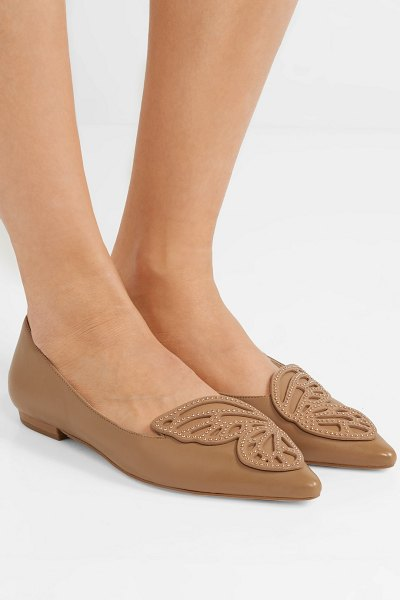 Sophia Webster bibi butterfly studded appliquéd leather point-toe flats in tan - You can expect refreshed versions of Sophia Webster's...