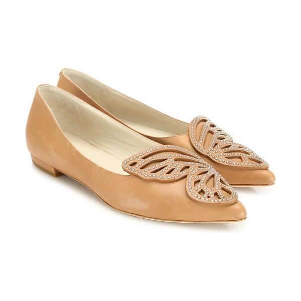 Sophia Webster bibi studded leather butterfly flats in tan - Leather pointed flat with studded split butterfly motif....