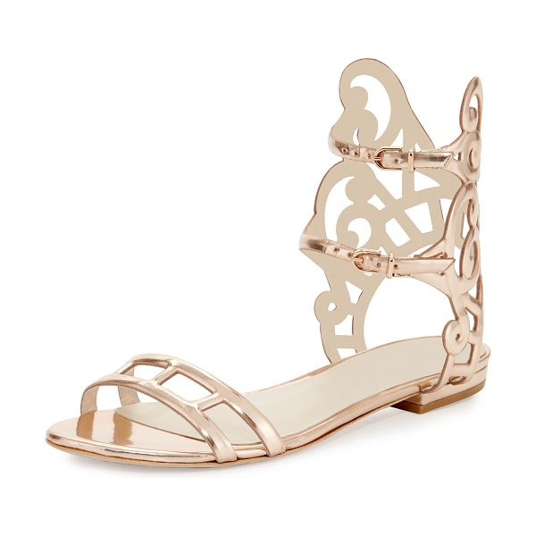 "Sophia Webster Birdie Swirl Flat Sandal in rose gold - Sophia Webster ""Birdie"" mirrored leather sandal. 0.5""..."
