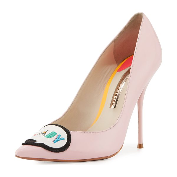 Sophia Webster Boss Lady Patent Leather Pumps in baby pink - Sophia Webster patent leather pump. Signature speech...
