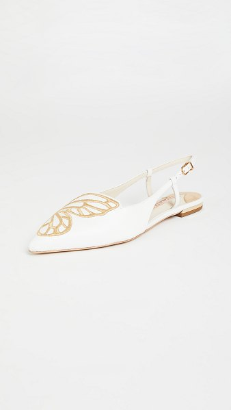 Sophia Webster butterfly embroidery slingbacks in white/gold