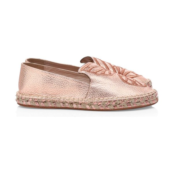 Sophia Webster butterfly metallic leather espadrilles in rose gold