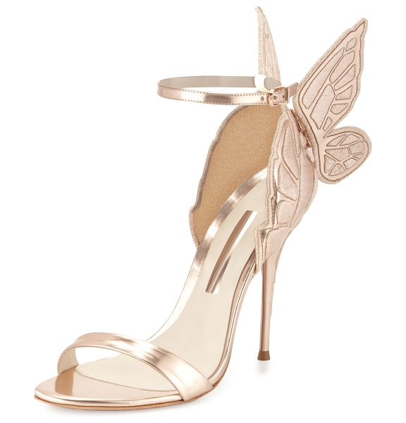 Sophia Webster Chiara Butterfly Wing Ankle-Wrap Sandals in gold - Sophia Webster embroidered metallic calf leather d'Orsay...