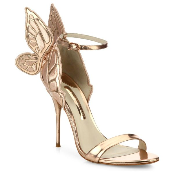 Sophia Webster chiara mid-heel wing embroidered metallic leather sandals in gold - Metallic mid-heel sandal with embroidered wing detail....