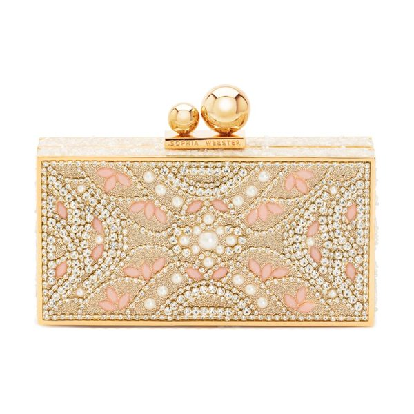 Sophia Webster clara ball clasp clutch in champagne - Embellished clutch featuring ball clasp closure. Ball...