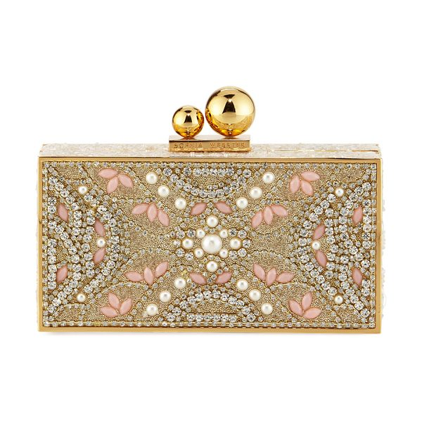 Sophia Webster Clara Crystal Box Clutch Bag in pink pattern - Sophia Webster resin box clutch bag encrusted with...