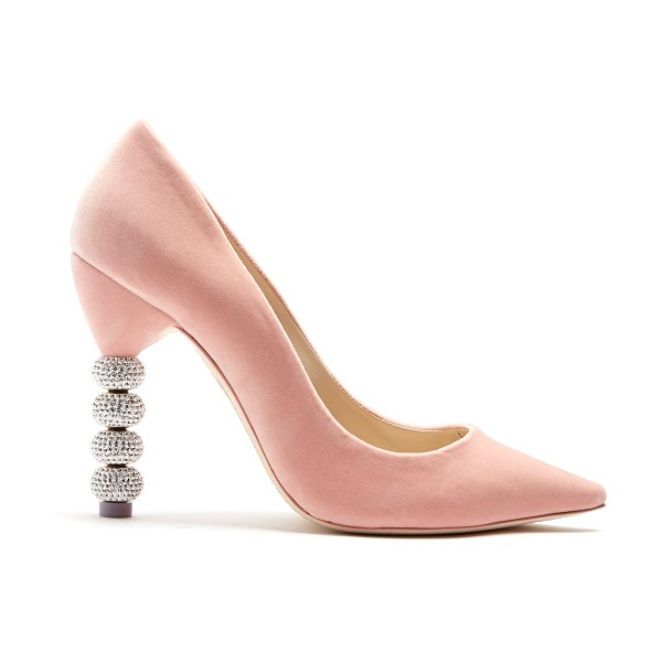 SOPHIA WEBSTER Coco crystal embellished-heel velvet pumps in light pink - Sophia Webster's feminine sensibility comes through in...