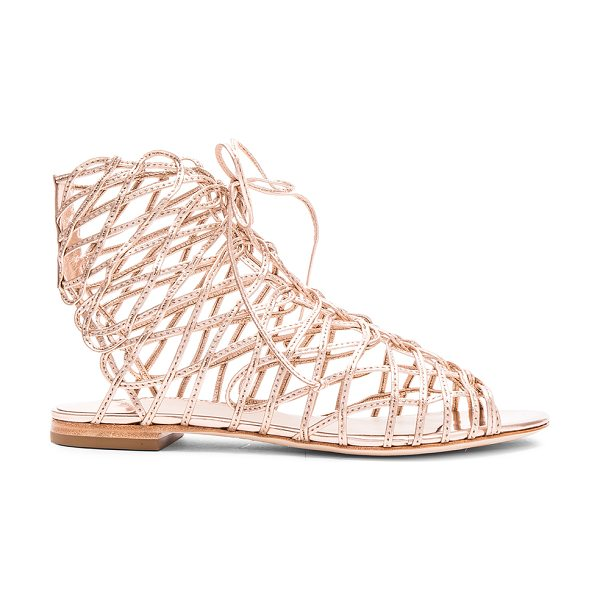 Sophia Webster Delphine Gladiator in gold - Leather upper and sole. Made in Brazil. Approx 10mm/ 0.5...