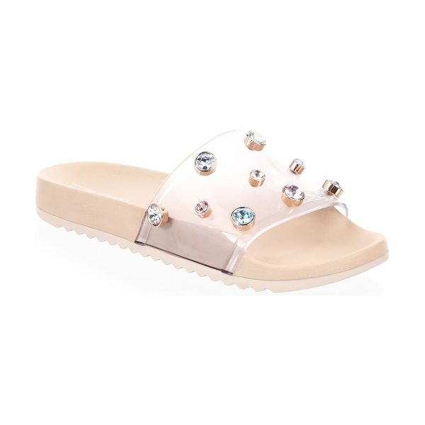 Sophia Webster dina embellished slides in nude - PVC slides with multicolored gem embellishments. PVC...