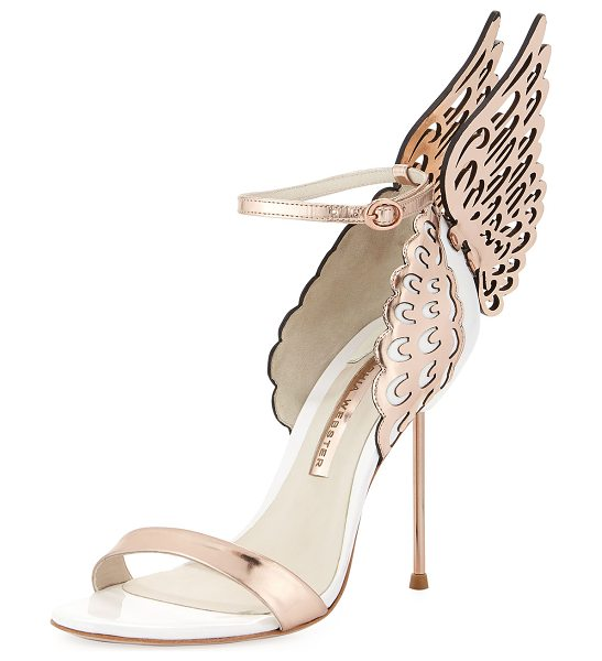 "Sophia Webster Evangeline Angel Wing Sandal in white/rosegold - Sophia Webster ""Evangeline"" sandal in patent and..."