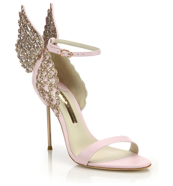 Sophia Webster evangeline embellished winged leather sandals in pink glitter - Glitter-embellished wings soften chic, whimsy pair....