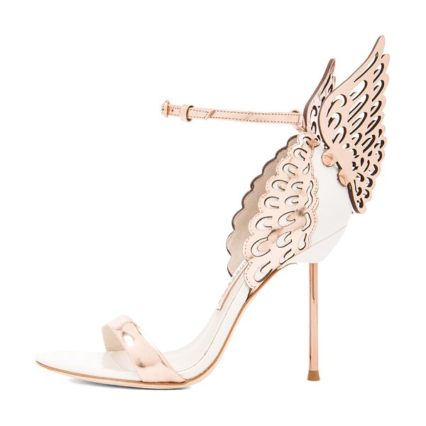 Sophia Webster Evangeline Leather Heels in rose gold & white - Leather upper and sole. Made in Brazil. Approx 75mm/ 3...