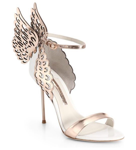 SOPHIA WEBSTER evangeline winged leather sandals - Fantasy-worthy heels marked by icy metallic leather...