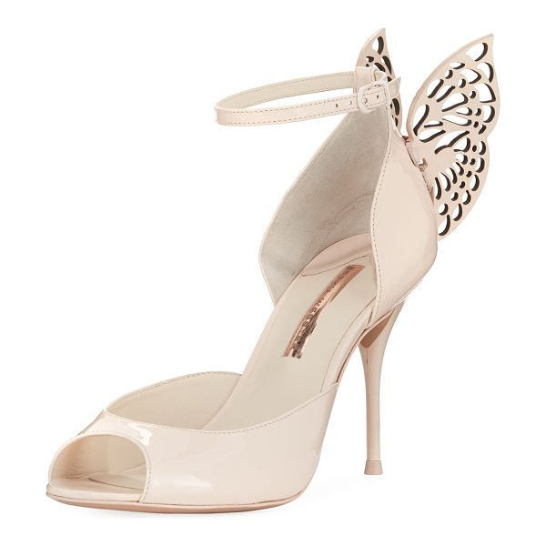 Sophia Webster Flutura Patent Butterfly Wing Sandal in nude - EXCLUSIVELY AT NEIMAN MARCUS Sophia Webster high sandal...
