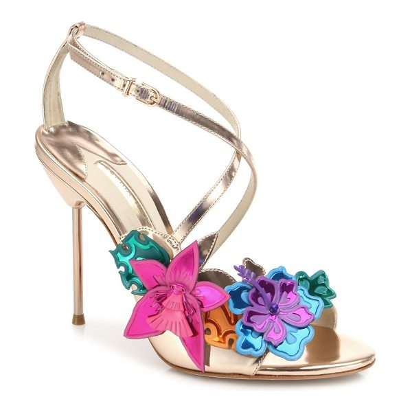 SOPHIA WEBSTER hula floral-embellished metallic leather crisscross sandals - Metallic crisscross sandal with multicolor floral...