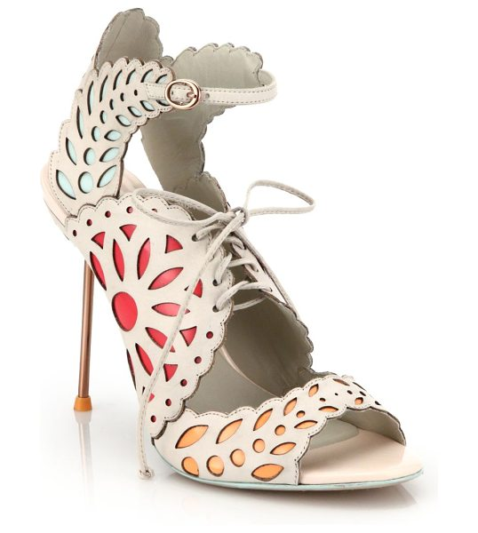 Sophia Webster Keira lace-up leather doily sandals in softpink