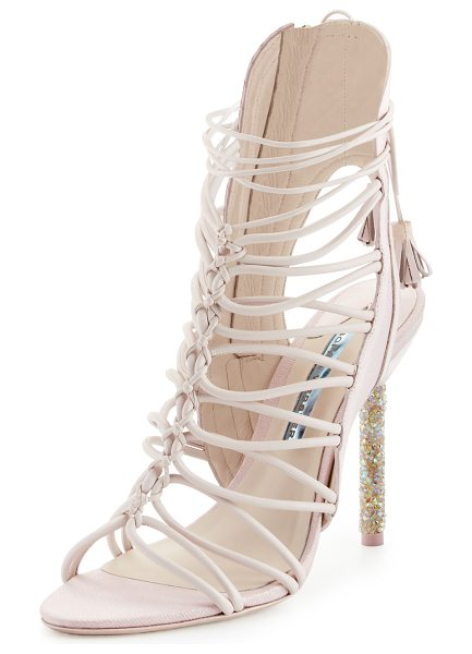 Sophia Webster Lacey Crystal Bridal Sandal in heavenly pink - Sophia Webster shimmery fabric and leather sandal from...
