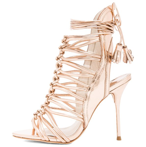 Sophia Webster Lacey leather heels in metallics,pink - Distressed metallic upper with leather sole.  Made in...