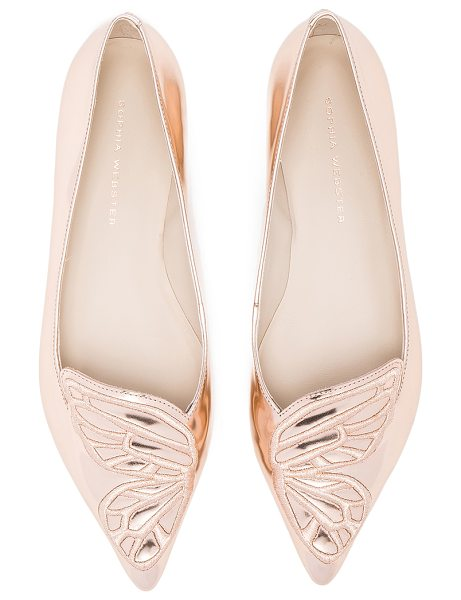 Sophia Webster Leather Bibi Butterfly Flats in gold - Metallic leather upper with leather sole. Made in...