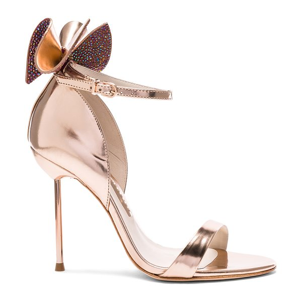 Sophia Webster Leather Maya Heels in rose gold - Leather upper and sole. Made in Brazil. Approx 100mm/ 4...