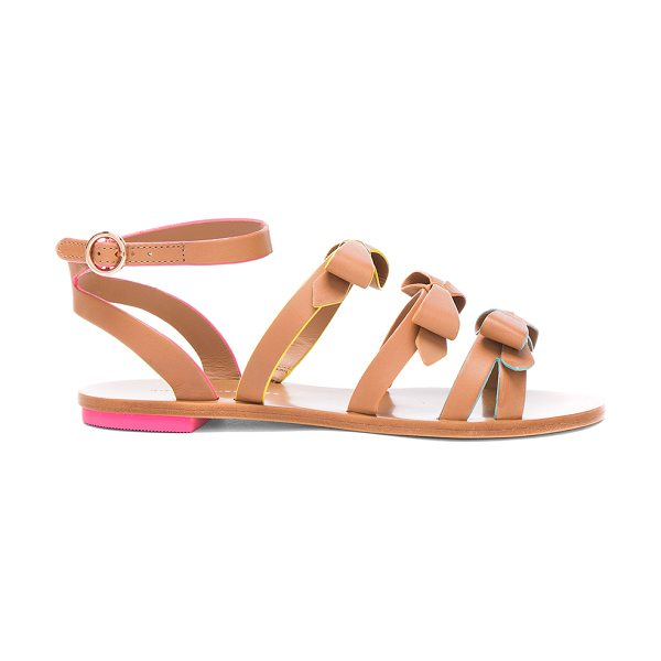SOPHIA WEBSTER Leather Samara Flat Sandals - Leather upper and sole. Made in Brazil. Approx 10mm/ 0.5...