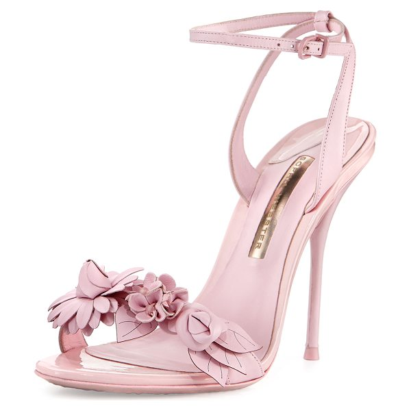 "Sophia Webster Lilico Floral Leather 100mm Sandal in pink - Sophia Webster leather sandal. 4"" covered heel. Strap..."