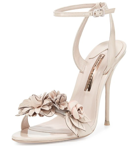 "Sophia Webster Lilico Floral Leather 105mm Sandals in nude - Sophia Webster patent calf leather sandal. 4.1"" covered..."