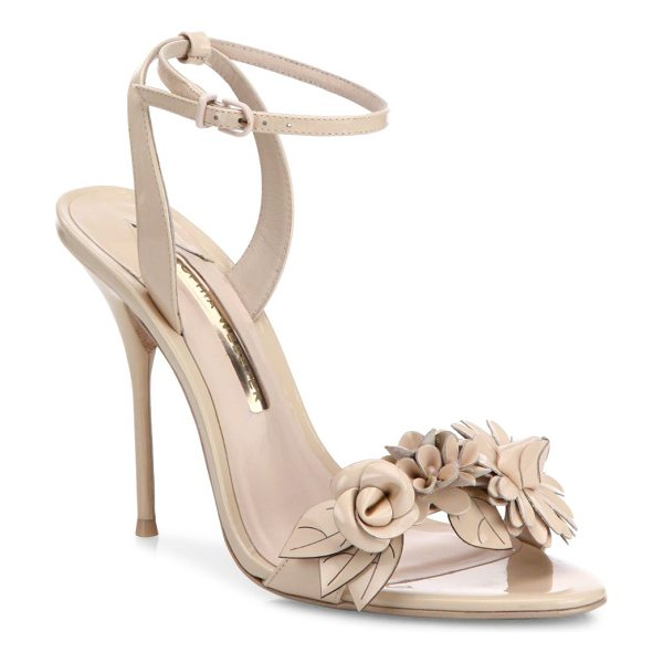 Sophia Webster lilico flower embellished leather sandals in nude - Attractive flower applique uplifts these sandals....
