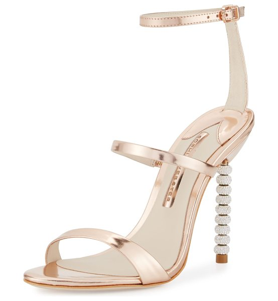 "Sophia Webster Rosalind Crystal-Heel Leather Sandals in rose gold - Sophia Webster metallic leather sandal. 4"" crystal..."