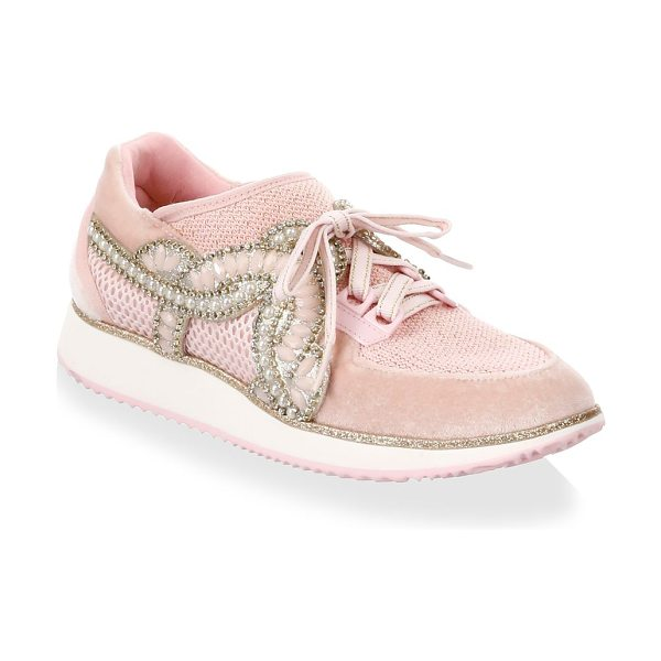 Sophia Webster royalty low-top sneakers in dusty pink - Chic sneakers embedded with sparkling appliques. Velvet...