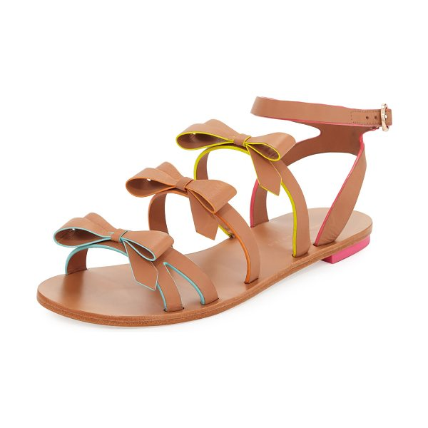 "SOPHIA WEBSTER Samara Flat Bow-Detail Sandal in tan - Sophia Webster ""Samara"" sandal in vegetable-tanned..."