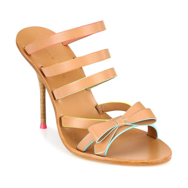 Sophia Webster samara bow strappy leather mules in tan - Multi-strap leather mule with femme bow detail. Stacked...