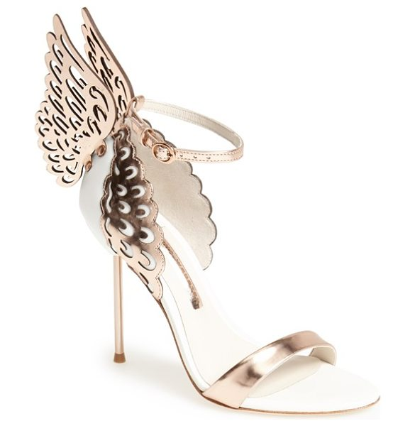 Sophia Webster evangeline sandal in white/ rose gold - Laser-cut butterfly wings quite literally stand out on a...