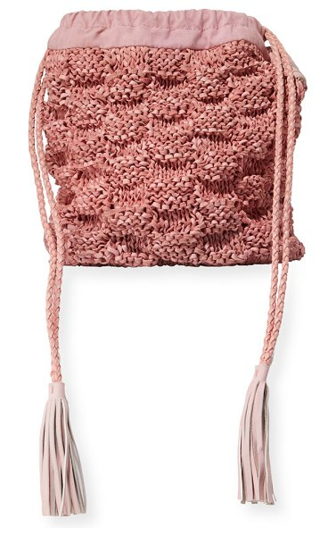Sophie Anderson Adia Hand-Knitted Bucket Bag in pink - Sophie Anderson woven knit and leather bucket bag....