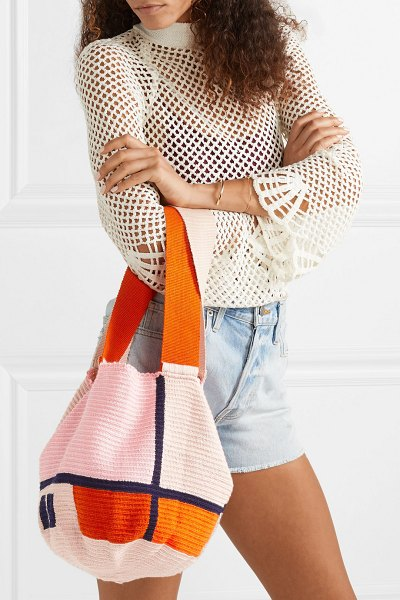 Sophie Anderson jonas color-block woven tote in coral