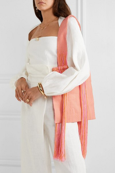 Sophie Anderson joss fringed woven tote in pink