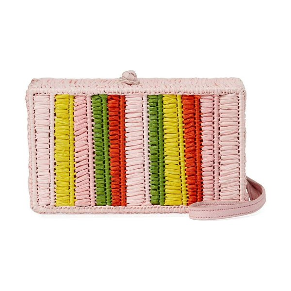 Sophie Anderson Mia Woven Raffia Belt Bag in pink pattern